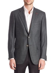 Isaia Check Wool And Cashmere Blazer Grey Multi