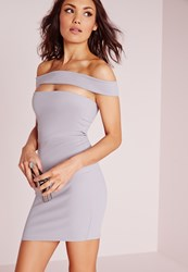 Missguided Cut Out Panel Bardot Bodycon Dress Ice Grey Ice Grey