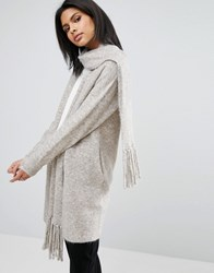 Warehouse Scarf Cardi Neutral Beige