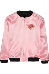Opening Ceremony Cash Reversible Embroidered Silk Satin Jacket Pastel Pink