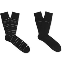 Hugo Boss Two Pack Striped Stretch Combed Cotton Blend Socks Black