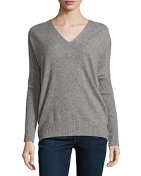 Joie Fryne Cashmere V Neck Sweater Heather Gray