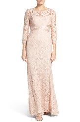 Adrianna Papell Women's Illusion Yoke Lace Gown Blush