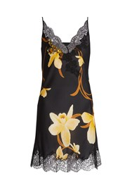 Carine Gilson Orchid Print Silk Satin Cami Dress Black Multi