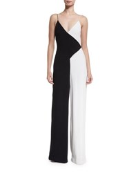 Cushnie Et Ochs Colorblock Sleeveless V Neck Jumpsuit Black White