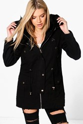 Boohoo Boutique Faux Fur Lined Parka Black