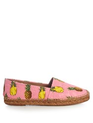 Dolce And Gabbana Pineapple Print Floral Brocade Espadrilles Pink Multi