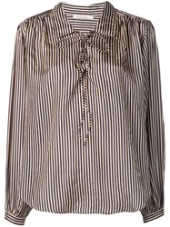 Mes Demoiselles Striped Blouse Black