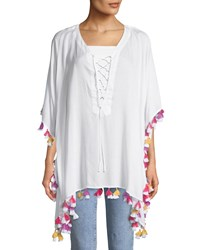 Bindya Lace Up Tunic With Tassels White