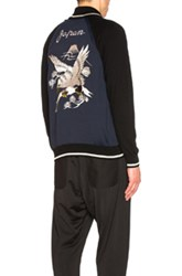 Junya Watanabe Polyester And Wool Jersey Eagle Pattern Embroidered Jacket In Blue
