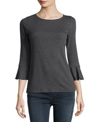 Neiman Marcus Ribbed Ruffle Cuff Top Gray