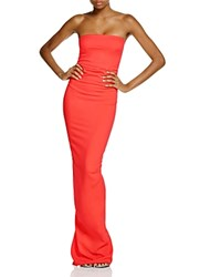 Nicole Bakti Ruffle Back Strapless Gown Red