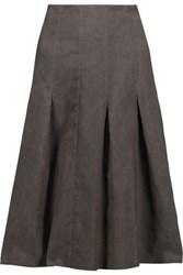Marni Pleated Wool Skirt Dark Gray