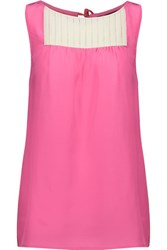 Marc By Marc Jacobs Bowery Color Block Pintucked Silk Crepe De Chine Top Bright Pink