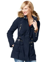 Inc International Concepts Faux Fur Trim Anorak Jacket Only At Macy's Deep Twilight