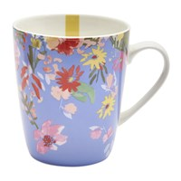 Joules Hollyhock Meadow China Mug Blue Floral