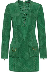 Balmain Lace Up Woven Suede Mini Dress Dark Green
