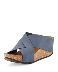 Neiman Marcus Made In Italy Margery Nubuck Wedge Sandal Navy