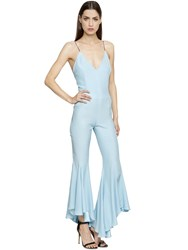 Silvia Astore Flared Leg Silk Crepe De Chine Jumpsuit
