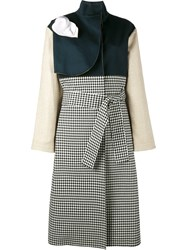 A.W.A.K.E. Gingham And Denim Trench Coat Blue