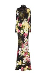 Naeem Khan Long Sleeve Floral Gown Black