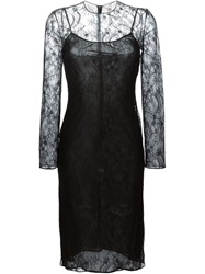 Givenchy Fitted Floral Lace Dress Black