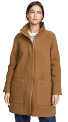 Madewell Piped Wool Cocoon Coat Melange Camel