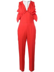 Msgm Ruffle Detail Jumpsuit Red