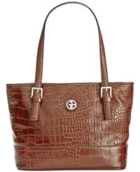 Giani Bernini Croc Embossed Tote Only At Macy's Brown