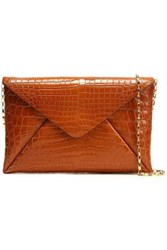 Michael Kors Croc Effect Leather Clutch Light Brown