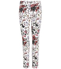 Erdem Sidney Floral Printed Cotton Trousers White