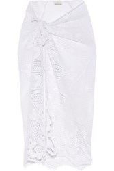 Miguelina Layna Crocheted Cotton Pareo White