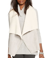Lauren Ralph Lauren Petite Faux Fur And Faux Suede Vest Grey