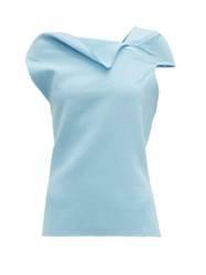 Roland Mouret Raywell Draped Wool Crepe Top Light Blue