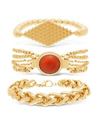 Steve Madden Multi Chain Red Stone And Textured Center Plate Bracelet Set 3 Piece Gold
