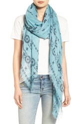Treasure And Bond Women's Print Scarf Teal Combo