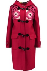 Stella Jean Montgomery Embroidered Brushed Wool Blend Hooded Coat Bright Pink