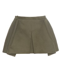 Balenciaga Pleated Cotton Twill Skirt Green