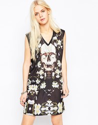 Religion Blossom Skull Print Shift Dress Black