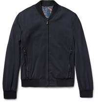 Wooyoungmi Reversible Wool Blend Seersucker And Printed Shell Bomber Jacket Midnight Blue