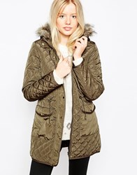 Brave Soul Quilted Parka With Faux Fur Hood Gold
