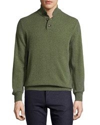 Luciano Barbera Cashmere Quarter Button Sweater Moss