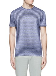 Isaia Stripe Linen Cotton T Shirt Blue