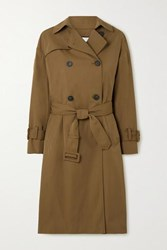 Vince Belted Gabardine Trench Coat Army Green