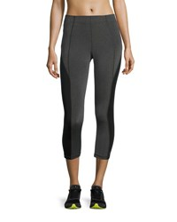 Aurum Colorblocked Mid Rise Cropped Leggings Gray Black