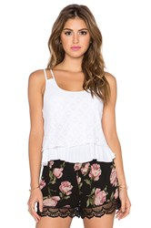 Band Of Gypsies Double Layer Crochet Tank White
