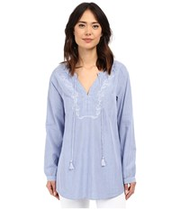 Jag Jeans Embroidered Clara Tunic Yale Blue Women's Blouse