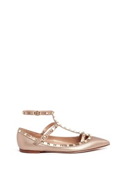 Valentino 'Rockstud' Metallic Caged Leather Flats
