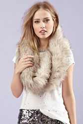 Forever 21 Faux Fur Infinity Scarf Beige Brown