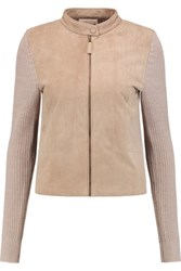 Tory Burch Faux Suede Paneled Ribbed Merino Wool Cardigan Light Brown